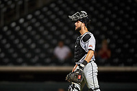 Scottsdale Scorpions catcher Joey Bart (27) congratulates Daysbel Hernandez (not pictured) after an Arizona Fall League game against the Mesa Solar Sox on September 18, 2019 at Sloan Park in Mesa, Arizona. Scottsdale defeated Mesa 5-4. (Zachary Lucy/Four Seam Images)
