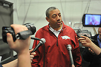 NWA Democrat-Gazette/Michael Woods --02/04/2015--w@NWAMICHAELW... University of Arkansas linebackers coach Vernon Hargreaves speaks to reporters during a press conference Wednesday afternoon at Fred W. Smith Center in Fayetteville.