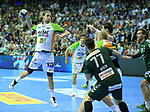 09.06.2019, Max Schmeling Halle, Berlin, GER, DHB,  1.HBL,  FUECHSE BERLIN VS. HSG Wetzlar,<br /> DHB regulations prohibit any use of photographs as image sequences and/or quasi-video<br /> im Bild Johan Koch (Fuechse Berlin #77), Jakov Gojun (Fuechse Berlin #10) ,<br /> Olle Forsell Schefvert (HSG Wetzlar #25)<br /> <br />      <br /> Foto © nordphoto / Engler