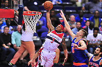 Bradley Beal of the Wizards elevates for a dunk. New York defeated Washington 115-104 during a NBA preseason game at the Verizon Center in Washington, D.C. on Friday, October 9, 2015.  Alan P. Santos/DC Sports Box