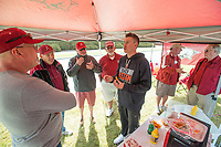 Hawgs Illustrated/BEN GOFF <br /> Dominic Ficociello, a former Arkansas player now in the minor leagues, hangs out at the 'HOGmerica' tailgate Wednesday, Oct. 11, 2017, during the Arkansas baseball Fall World Series scrimmage at Baum Stadium in Fayetteville.