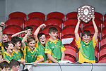 Billy Moroney of Kilkishen/O Callaghan's Mills lifts the cup following their Schools Division 5 final at Cusack Park. Photograph by John Kelly