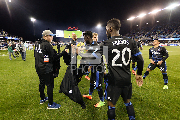 San Jose, CA - Saturday, March 04, 2017: Danny Hoesen, Shaun Francis prior to a Major League Soccer (MLS) match between the San Jose Earthquakes and the Montreal Impact at Avaya Stadium.