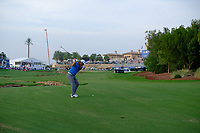 Jon Rahm (ESP) on the 18th green during the 2nd round of the DP World Tour Championship, Jumeirah Golf Estates, Dubai, United Arab Emirates. 16/11/2018<br /> Picture: Golffile | Fran Caffrey<br /> <br /> <br /> All photo usage must carry mandatory copyright credit (© Golffile | Fran Caffrey)