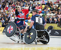 Friday 12th September 2014<br /> Picture: Annie Devine<br /> RE: Team GB's Annie Devine competing in wheelchair rugby on the 2nd day of the Invictus Games 2014 at Queen Elizabeth Olympic Park, London, United Kingdom