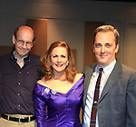 """Associate Writer As The World Turns Hal Corley (also AMC) and Michael Rhodes pose with Colleen Zenk - As The World Turns - star in Looped - about Tallulah Bankhead - original premiere - at Stageworks/Hudson Theater Outside The Box on July 14, 2013 running until July 28 -  """"All he needed was one line . . . All Tallulah needed was eight hours . . .""""  (Photo by Sue Coflin/Max Photos)"""
