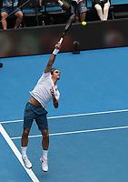 16th January 2019, Melbourne Park, Melbourne, Australia; Australian Open Tennis, day 3; Roger Federer of Switzerland in action against Daniel Evans of Great Britain