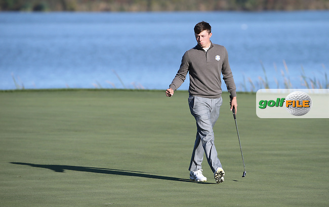 Matthew Fitzpatrick (Team Europe) putts out for a point on the 7th during the Saturday Morning Foursomes, at the 41st Ryder Cup 2016, at Hazeltine National Golf Club, Minnesota, USA.  01View of the 10th2016. Picture: David Lloyd | Golffile.