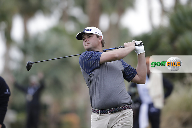 Patton Kizzire (USA) tees off the 18th tee during Thursday's Round 1 of the 2017 CareerBuilder Challenge held at PGA West, La Quinta, Palm Springs, California, USA.<br /> 19th January 2017.<br /> Picture: Eoin Clarke | Golffile<br /> <br /> <br /> All photos usage must carry mandatory copyright credit (&copy; Golffile | Eoin Clarke)