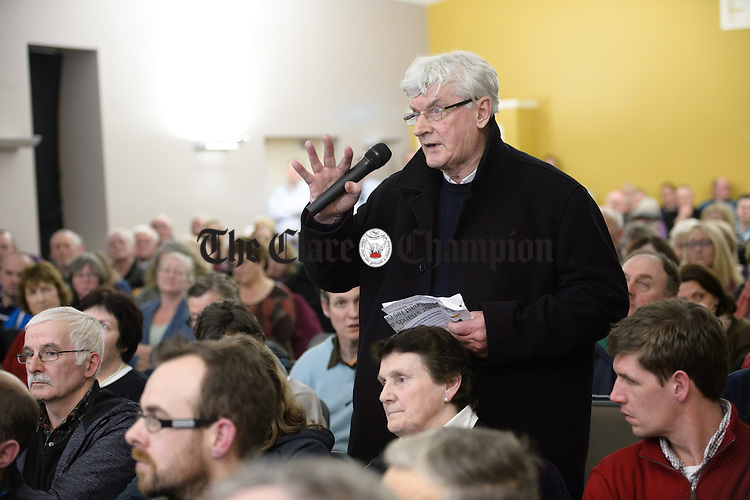 Fr Harry Bohan, PP Sixmilebridge and long time campaigner for rural Ireland,  speaking at a public meeting as part of the #nodoctornvillage campaign in Corofin Hall. The meeting ratified Dr. Michael Harty as the Clare GP candidate for the forthcoming General election. Photograph by John Kelly.