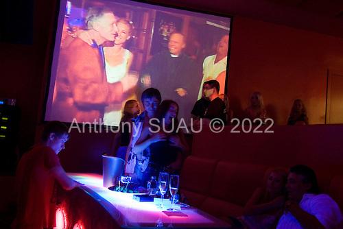 Kiev, Ukraine.July 23, 2005 ..Possibly the most popular night club in Kiev, Arena night club on a Saturday night with an American Playboy DJ.