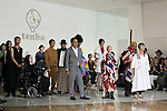 (R to L) Japanese designer Takafumi Tsuruta and models pose for the cameras at the tenbo 2016 Spring-Summer Collection during the Mercedes-Benz Fashion Week Tokyo, in Roppongi on October 13, 2015, Tokyo, Japan. tenbo invited people with disabilities to join models and celebrities on the runway in a message of peace. The Mercedes-Benz Fashion Week Tokyo runs from October 12 to 17. (Photo by Rodrigo Reyes Marin/AFLO)