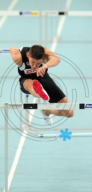 Leichtathletik - DHM 2009 Deutsche Hallenmeisterschaften - ARENA Leipzig - Track and Field - im Bild: 60m Hürden Männer - LAZ Athlet Erik Balnuweit. Aktionsporträt.Foto: Norman Rembarz..Norman Rembarz, Holbeinstr. 14, 04229 Leipzig, Hypo-Vereinsbank, BLZ: 86020086, Kto: 357889472, Ust. ID.: DE 256991963 St. Nr.: 231/261/06432 !!!!!!  Honorar zuzüglich 7 % Mwst !!!!!!!!
