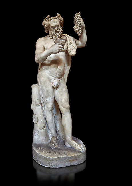 1st century AD Roman statue of Silenus pouring wine from a jug. The head is from the Flavian period and the body 1st century. A copy of an earlier Hwellenistic sculpture by the school of Lysippus, inv 323, Vatican Museum Rome, Italy,  black background
