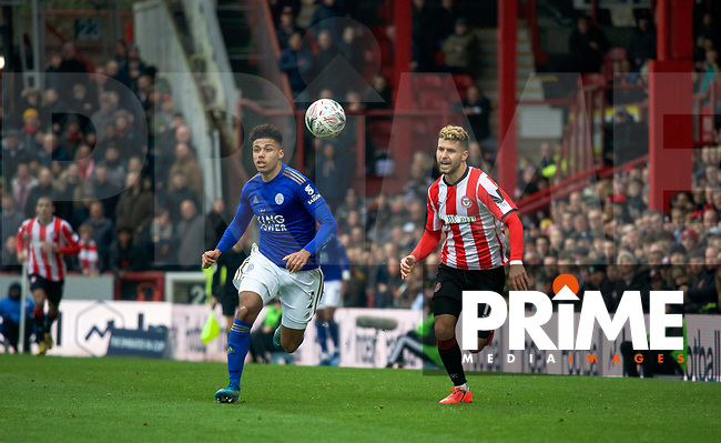 James Justin of Leicester City & Emiliano Marcondes of Brentford during the FA Cup 4th round match between Brentford and Leicester City at Griffin Park, London, England on 25 January 2020. Photo by Andy Aleks.