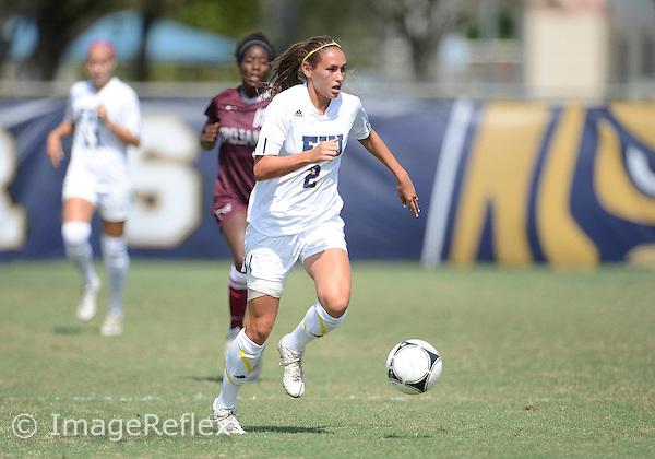 Florida International University women's soccer forward Chelsea Leiva (2) plays against University of Arkansas Little Rock on October 21, 2012 at Miami, Florida. FIU won the game 7-0. .