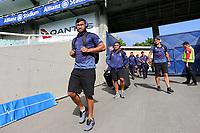 Peta Hiku and the Warriors arrive. Sydney Roosters v Vodafone Warriors, NRL Rugby League. Allianz Stadium, Sydney, Australia. 31st March 2018. Copyright Photo: David Neilson / www.photosport.nz