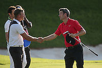 Ross Fisher (ENG) shakes hands with Shaun Norris (RSA) during Round Two of The Tshwane Open 2014 at the Els (Copperleaf) Golf Club, City of Tshwane, Pretoria, South Africa. Picture:  David Lloyd / www.golffile.ie