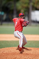Philadelphia Phillies pitcher Jaylen Smith (12) during an Instructional League game against the Detroit Tigers on September 19, 2019 at Tigertown in Lakeland, Florida.  (Mike Janes/Four Seam Images)