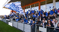 20190324 - OOSTAKKER , BELGIUM : Gent's fans and supporters  pictured during the quarter final of Belgian cup 2019 , a womensoccer game between KAA Gent Ladies and RSC Anderlecht , at the PGB stadion in Oostakker , sunday 24 th March 2019 . PHOTO SPORTPIX.BE | DAVID CATRY