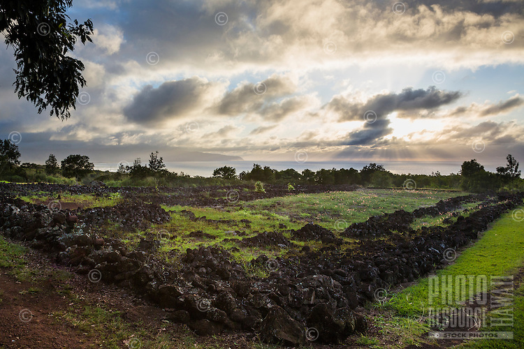 Pu'u o Mahuka Heiau overlooking the sunset on the North Shore of O'ahu.