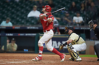 Drew Minter (8) of the Houston Cougars follows through on his swing against the Vanderbilt Commodores during game nine of the 2018 Shriners Hospitals for Children College Classic at Minute Maid Park on March 3, 2018 in Houston, Texas. The Commodores defeated the Cougars 9-4. (Brian Westerholt/Four Seam Images)