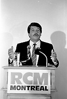 Montreal. CANADA -   August 12, 1986    File Photo  - RCM Leader Jean Dore adress the medias, at Helene-de-Champlain Restaurant.<br /> <br /> He was elected  Montreal Mayor in November 1986.<br /> <br /> File Photo : Agence Quebec Pressse - Pierre Roussel