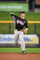 Wisconsin Timber Rattlers second baseman Tucker Neuhaus (10) warmup throw to first during the first game of a doubleheader against the Quad Cities River Bandits on August 19, 2015 at Modern Woodmen Park in Davenport, Iowa.  Quad Cities defeated Wisconsin 3-2.  (Mike Janes/Four Seam Images)
