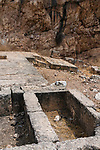 The foundation of the temple of Zeus in the ruins of the Greco-Roman religious center of Panias at Caesarea Philippi in the Hermon Springs (Banyas) Nature Reserve, a national park in northern Israel at the base of Mount Hermon.