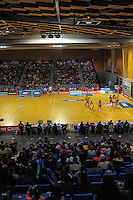 A general view of the ANZ Netball Championship match between the Central Pulse and Mainland Tactix at Te Rauparaha Arena, Wellington, New Zealand on Saturday, 11 May 2015. Photo: Dave Lintott / lintottphoto.co.nz
