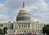 Scaffolding is erected around the United States Capitol Dome as part of a restoration effort to repair more than 1,000 cracks and deficiencies due to age and weather in Washington, D.C. on September 18, 2014.  The Dome was constructed of cast iron more than 150 years ago and has not undergone a complete restoration since 1959-1960.  <br /> Credit: Ron Sachs / CNP