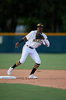 GCL Pirates shortstop Norkis Marcos (3) during a Gulf Coast League game against the GCL Twins on August 6, 2019 at Pirate City in Bradenton, Florida.  GCL Twins defeated the GCL Pirates 4-2 in the first game of a doubleheader.  (Mike Janes/Four Seam Images)