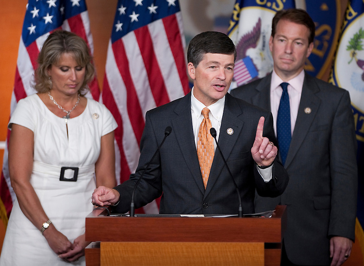 UNITED STATES - JULY 28: House Republican Conference Chairman Jeb Hensarling, R-Texas, flanked by Rep. Renee Ellmers, R-N.C., and Rep Peter Roskam, R-Ill., participates in a House Republicans news conference on the debt ceiling  on Thursday, July 28, 2011. (Photo By Bill Clark/Roll Call)