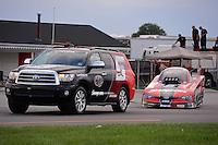 31 August - 3 September, 2012, Indianapolis, Indiana USA, Cruz Pedregon, Snap-On Tools, Toyota Camry, funny car, Toyota Sequoia, tow vehicle @2012, Mark J. Rebilas