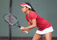STANFORD, CA - April 14, 2011: Stacey Tan of Stanford women's tennis during Stanford's dual against St. Mary's. Stanford won 6-1. Tan lost to St. Mary's Jenny Jullien 6-4, 6-3.