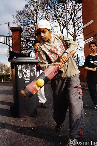 A group of British-born boys play cricket in Leicester city, UK. Their families come from Pakistan...Leicester is expected to be the first city in the UK to have a majority non-white population within the next few years. It is one of the most ethnically-diverse cities in Europe. ...Picture taken April 2005 by Justin Jin