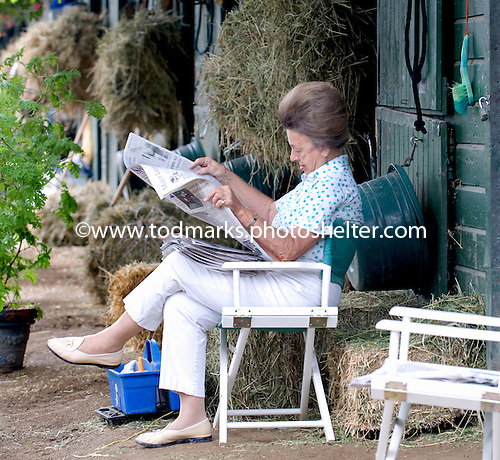 Peggy Steinman reads the morning paper at Doug Fout's Saratoga shedrow.