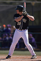 Allan Dykstra (10) of the Wake Forest Demon Deacons at bat versus the Clemson Tigers during the first game of a double header at Gene Hooks Stadium in Winston-Salem, NC, Sunday, March 9, 2008.