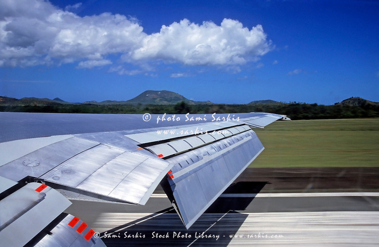Airplane taking off from La Tontouta International Airport, Nouméa, New Caledonia.