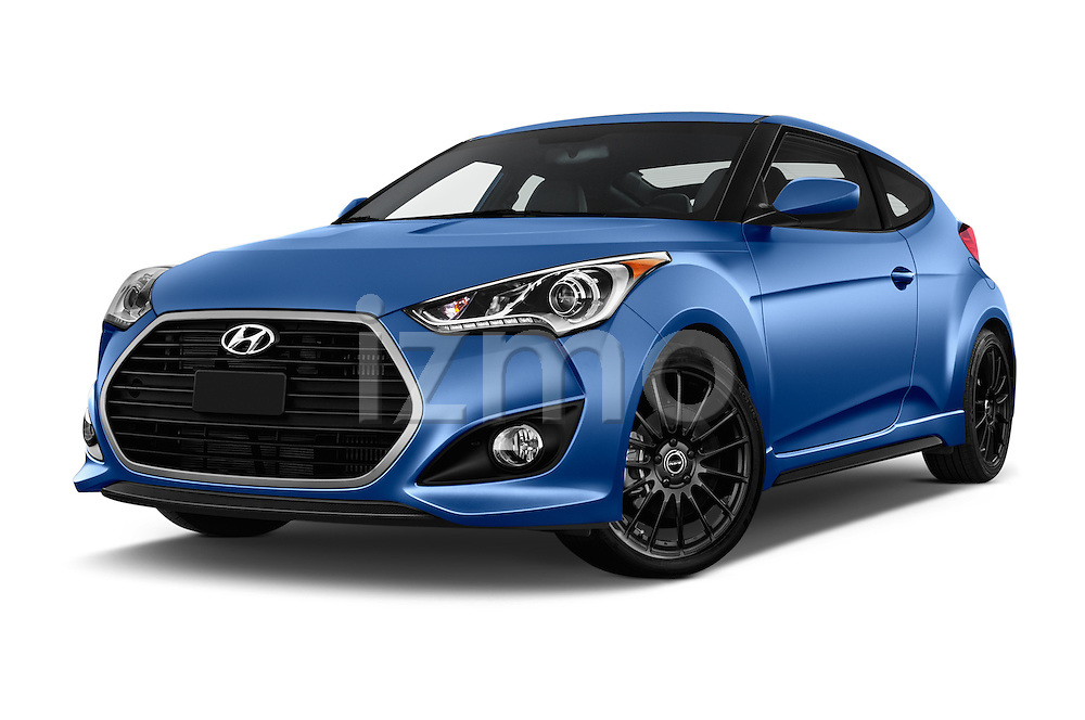 Stock pictures of low aggressive front three quarter view of 2016 Hyundai Veloster 1.6 Turbo Rally Edition Manual 4 Door Hatchback Low Aggressive