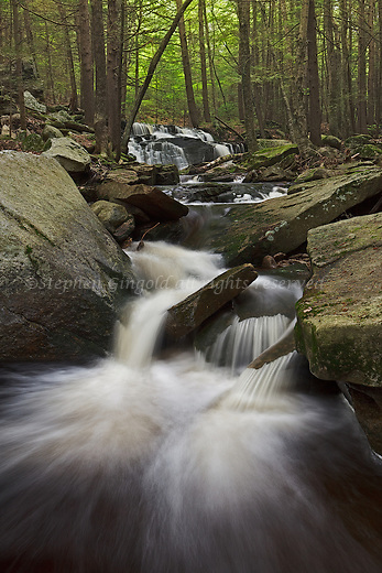 A cascade in Pelham, Massachusetts downstream from a small waterfall. This is Amethyst Brook which is part of the Amherst, Massachusetts water supply.