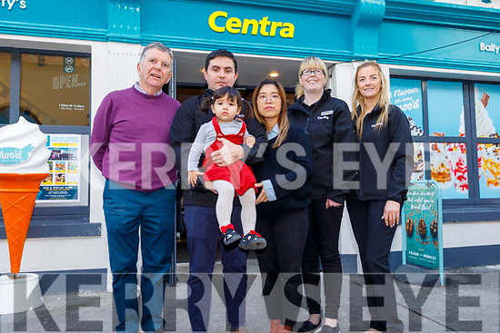Brendan, Joseph, Saoirse and Cindy Moriarty as they officially reopen Moriarty's Centra Ballyheigue on Friday standing with Stephanie Kenny and Maura O'Sullivan.