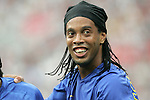 10 August 2008: Ronaldinho (BRA) celebrates his first goal.  The men's Olympic soccer team of Brazil defeated the men's Olympic soccer team of New Zealand 5-0 at Shenyang Olympic Sports Center Wulihe Stadium in Shenyang, China in a Group C round-robin match in the Men's Olympic Football competition.