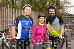 Niall Flahive (Abbeyfeale), Sheila Power (Abbeyfeale) and Chris Fitzgerald (Strandbally) at the Down Syndrome Ireland cycle fundraiser at the Ballyseedy Garden Centre on Saturday morning.