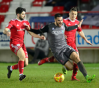 Lincoln City's Joan Luque is fouled by Accrington Stanley's Piero Mingoia, left, and Accrington Stanley's Scott Brown<br /> <br /> Photographer Andrew Vaughan/CameraSport<br /> <br /> The EFL Checkatrade Trophy Second Round - Accrington Stanley v Lincoln City - Crown Ground - Accrington<br />  <br /> World Copyright &copy; 2018 CameraSport. All rights reserved. 43 Linden Ave. Countesthorpe. Leicester. England. LE8 5PG - Tel: +44 (0) 116 277 4147 - admin@camerasport.com - www.camerasport.com