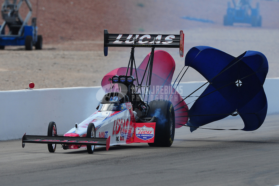 Apr. 3, 2011; Las Vegas, NV, USA: NHRA top fuel dragster driver Shawn Langdon during the Summitracing.com Nationals at The Strip in Las Vegas. Mandatory Credit: Mark J. Rebilas-