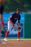Lowell Spinners shortstop Antoni Flores (19) during a NY-Penn League game against the Batavia Muckdogs on July 10, 2019 at Dwyer Stadium in Batavia, New York.  Batavia defeated Lowell 8-6.  (Mike Janes/Four Seam Images)