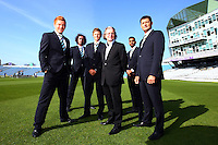 PICTURE BY VAUGHN RIDLEY/SWPIX.COM - Cricket - County Championship Div 2 - Yorkshire County Cricket Club 2012 Media Day - Headingley, Leeds, England - 29/03/12 - The Yorkshire CCC players, coaches and management gather on the pitch at Headingley for the 2012 photo call. Jonny Bairstow, Ryan Sidebottom, Joe Root, Ajmal Shahzad and Martyn Moxon model their new Sterling suits.