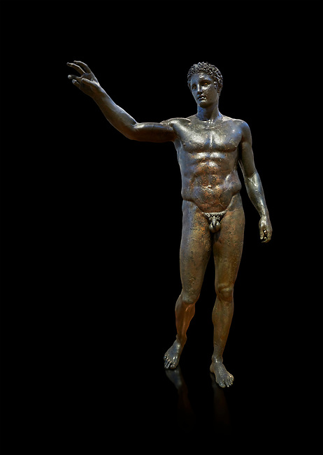 Gronze Greek classical statue of a youth by sculptor Euphranor. from the Antikythera shipwreck, Circa 340-330 BC, Athens National Archaeological Museum. Cat No X13396. Against black<br /> <br /> The statue has been thought to depict Perseus who would have been holding the head of Medusa, but is more probably a depiction of Paris who would have been holding the 'apple of strife', ready to award it to the most beautiful goddess, Aphrodite. Probably sculpted by Sikyonian sculptor Euphranor.
