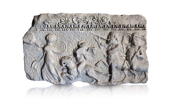 Roman relief sculpture of the Dionysus Festival. Roman 2nd century AD, Hierapolis Theatre.. Hierapolis Archaeology Museum, Turkey. Against an white background